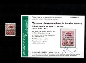 Montenegro: MiNr. 1, Plattenfehler I, postfrisch, **