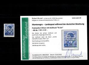 Montenegro: MiNr. 7, postfrisch, **, Plattenfehler I