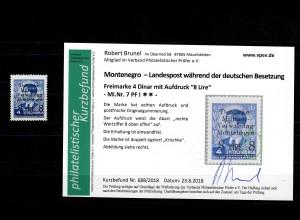 Montenegro: MiNr. 7, postfrisch, **, Wertziffer oben offen, Plattenfehler I
