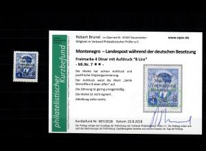 Montenegro: MiNr. 7, postfrisch, **, Abart beide Wertziffern oben offen