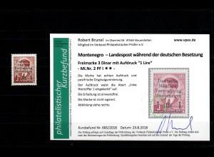 Montenegro: MiNr. 2 Plattenfehler I, postfrisch, **