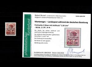 Montenegro: MiNr. 3 I, Plattenfehler I, postfrisch, **