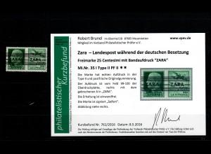Zara: MiNr. 35 I, Type II, Plattenfehler II, **, postfrisch