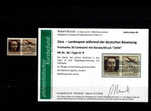 Zara: MiNr. 36 I, Type III, *, Haftstelle