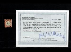 DR Dienst: MiNr. 27a, gestempelt Lahr, BPP Befund