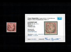 Baden: MiNr. 16 auf Briefstück gestempelt, BPP Befund