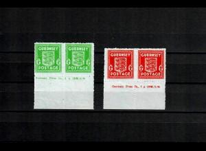 Guernsey: MiNr. 4 und 5 mit Druckvermerk, postfrisch, **