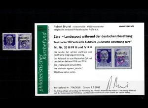 Zara: MiNr. 20 III, Plattenfehler III und IV, postfrisch, **