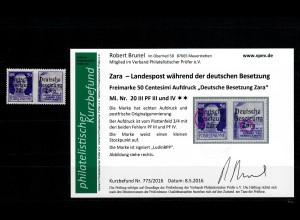 Zara: MiNr. 20 III, Plattenfehler III und IV, **, postfrisch