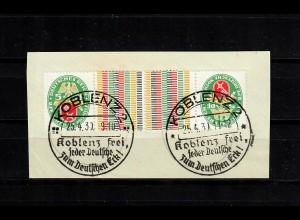 DR: MiNr. K13, gestempelt Koblenz frei, Briefstück