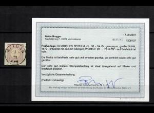 DR: MiNr. 16, gestempelt Weimar, BPP Befund