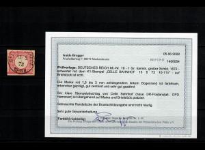 DR: MiNr. 19, gestempelt Coeln-Bahnhof, BPP Befund