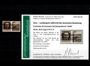 Zara: MiNr. 36 III, Plattenfehler II, *, Falzspur