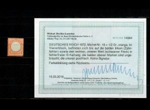 DR: MiNr. 18, postfrisch, **, BPP Befund - Kopie aus Viererblock