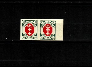 Danzig: MiNr. 80U, postfrisch, **, waagrechtes Paar vom Rand