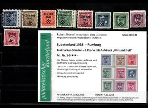 Sudetenland MiNr. 1-9, postfrisch, **, Rumburg