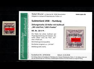 Sudetenland MiNr. 19 II, *, Falz, Rumburg