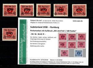 Sudetenland MiNr. 36-43, Falz, * Rumburg