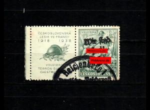 Sudetenland MiNr. 132 Zf w, gestempelt, Sonderstempel Reichenberg