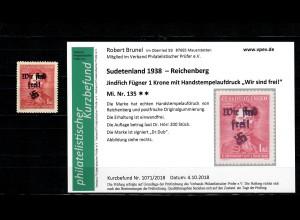 Sudetenland MiNr. 135, postfrisch, **, Reichenberg, Auflage ca. 200 Stück
