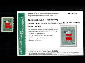 Sudetenland MiNr. 134, postfrisch, **, Auflage ca. 200 Stück, Reichenberg,