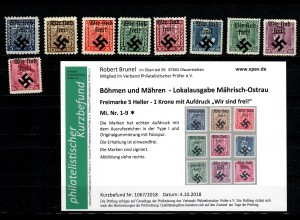 B&M Mährisch Ostrau MiNr. 1-9, Falz, *, Type I