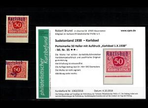 Sudetenland MiNr. 35, postfrisch, **, Auflage 640 Stück, Karlsbad