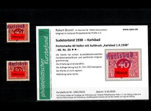 Sudetenland MiNr. 34/35, postfrisch, **, Auflage 205/640 Stück, Karlsbad