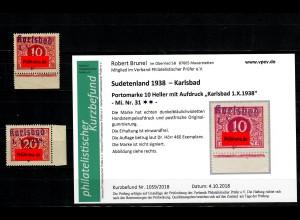 Sudetenland MiNr. 31/32, postfrisch, **, Auflage 460/ 820 Stück, Karlsbad