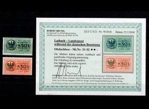 Laibach: MiNr. 31-32, postfrisch, ** für Obdachlose