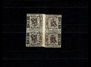 Bergedorf MiNr. 2 K Zw, *, ungebrauchter Kehrdruck Vierblock, BPP Signatur