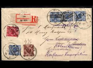 Samoa: R-Zettel APIA kaiserliche Deutsche Post Agentur 1896 nach Berlin/Köln