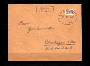 Lokalausgaben Fredersdorf Sp 106 auf Brief nach Petershagen 13.10.45, BPP Attest