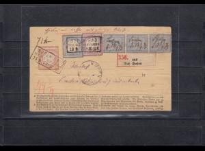 NDP MiNr. 26, DR MiNr. 1,20,21a auf Paketbegleitkarte 1873 Bad Soden nach Emden