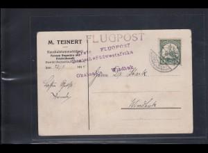 DSWA: Flugpostkarte 1914: Okahandja - Windhuk, sehr große Seltenheit