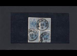 Lombardei-Venetien 1850: MiNr. 5b, 4er Block, gestempelt Cremona