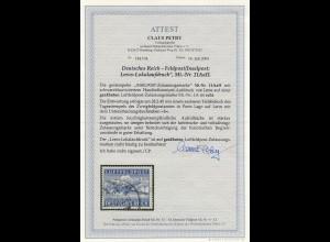 Feldpost MiNr. 11 AaII, gestempelt 28.2.45 Porto Lago auf Leros, BPP Attest