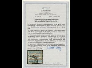 Feldpost MiNr. 7B, gestempelt in Malemes auf Kreta 6.12.44, BPP Attest