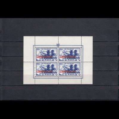 Flämische Legion MiNr. XX, Langemark Wapen Feldpost, postfrisch **, Kleinbogen A