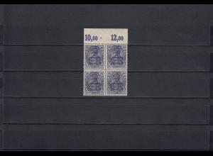 Allenstein MiNr. 19a, 4er Block, postfrisch vom Oberrand, BPP Signatur, Platte
