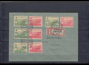 SBZ: überfrankierter R-Brief MiNr. 85/86wa, 85/86waB, 85/86waC und 85wbA, 86wbA