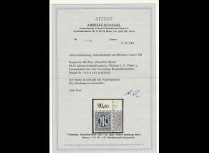 BiZone: MiNr. 34 a A z r4,postfrisch im Eckrand mit Bogenzählnummer, BPP Attest