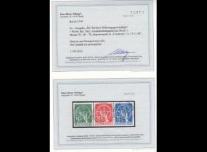 Berlin MiNr. 68-70, gestempelt Cuxhaven 1950, BPP Befund