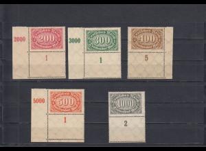 DR: MiNr. 248a, 249-52, 5x mit Leerfeld, 4x Eckrand, postfrisch, **, BPP Befund