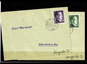 DR: MiNr. 781-802, 20.03.1942, auf FDC nach Schwabach