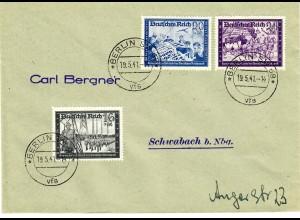 DR: MiNr. 773-778, 19.5.1941, auf FDC nach Schwabach