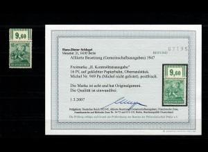 BiZone: MiNr. 949 Pa, Oberrand, geklebte Papierbahn, postfrisch, **, BPP Befund