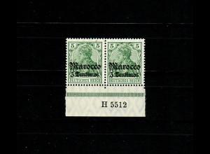 Dt. Post in Marocco MiNr. 35, 2er Streifen Unterrand Aufdruck-HAN, postfrisch **