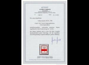 FELDPOST : MiNr. 5b: TUNIS Feldpostpäckchen Zulassungsmarken mit BPP ATTEST