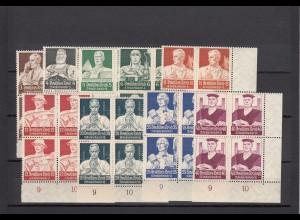 Deutsches Reich: MiNr. 556-564, postfrisch im Viererblock - Eckrand, BPP Attest